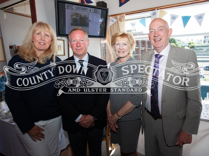 The commodore of Ballyholme YC Aidan Pounder (second left) welcomed invited guests to his reception on Saturday which was organised as part of the club's centenary celebrations. From left are, Jackie Patton, chairman of RYA NI Lady Sylvia Hermon MP, and George Lucas, chairman of Sport NI. P28-27-06-19