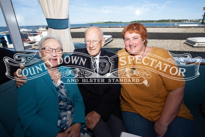 The oldest member of Ballyholme YC Douglas Cooper, with his daughter Helen Cooper and friend Margaret Johnston. P32-27-06-19